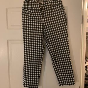 Gingham cropped work pants